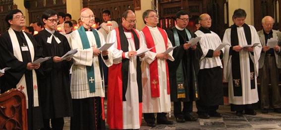 Chinese Cardinal John Tong Hon of Hong Kong joins prayer service